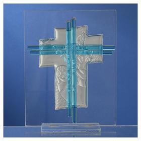 Croce Angeli Vetro Murano acquamarina e Arg. h. 14,5 cm s4