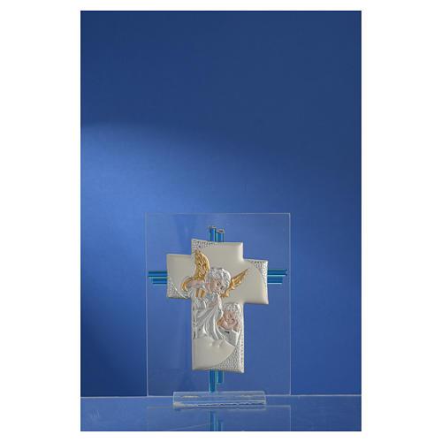 Croce Angeli Vetro Murano acquamarina e Arg. h. 14,5 cm 2