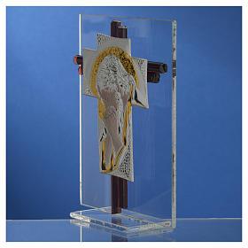 Croix Christ verre Murano lilas et argent h 14,5 cm s3