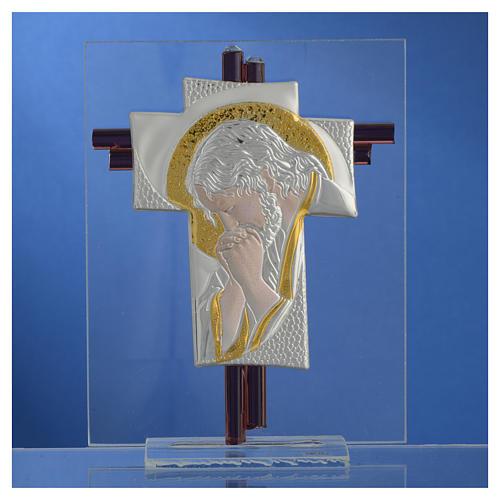 Croix Christ verre Murano lilas et argent h 14,5 cm 2
