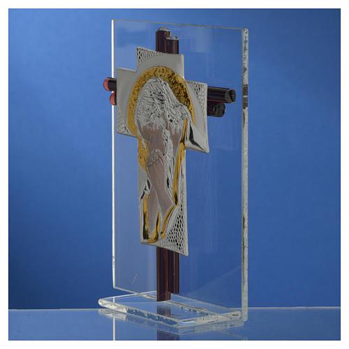 Croix Christ verre Murano lilas et argent h 14,5 cm 3