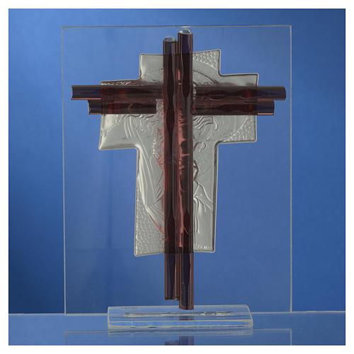 Croix Christ verre Murano lilas et argent h 14,5 cm 4