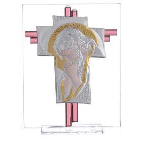 Croce Cristo vetro Murano lilla e Argento h. 14,5 cm s1