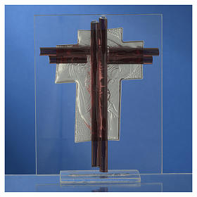 Croce Cristo vetro Murano lilla e Argento h. 14,5 cm s4