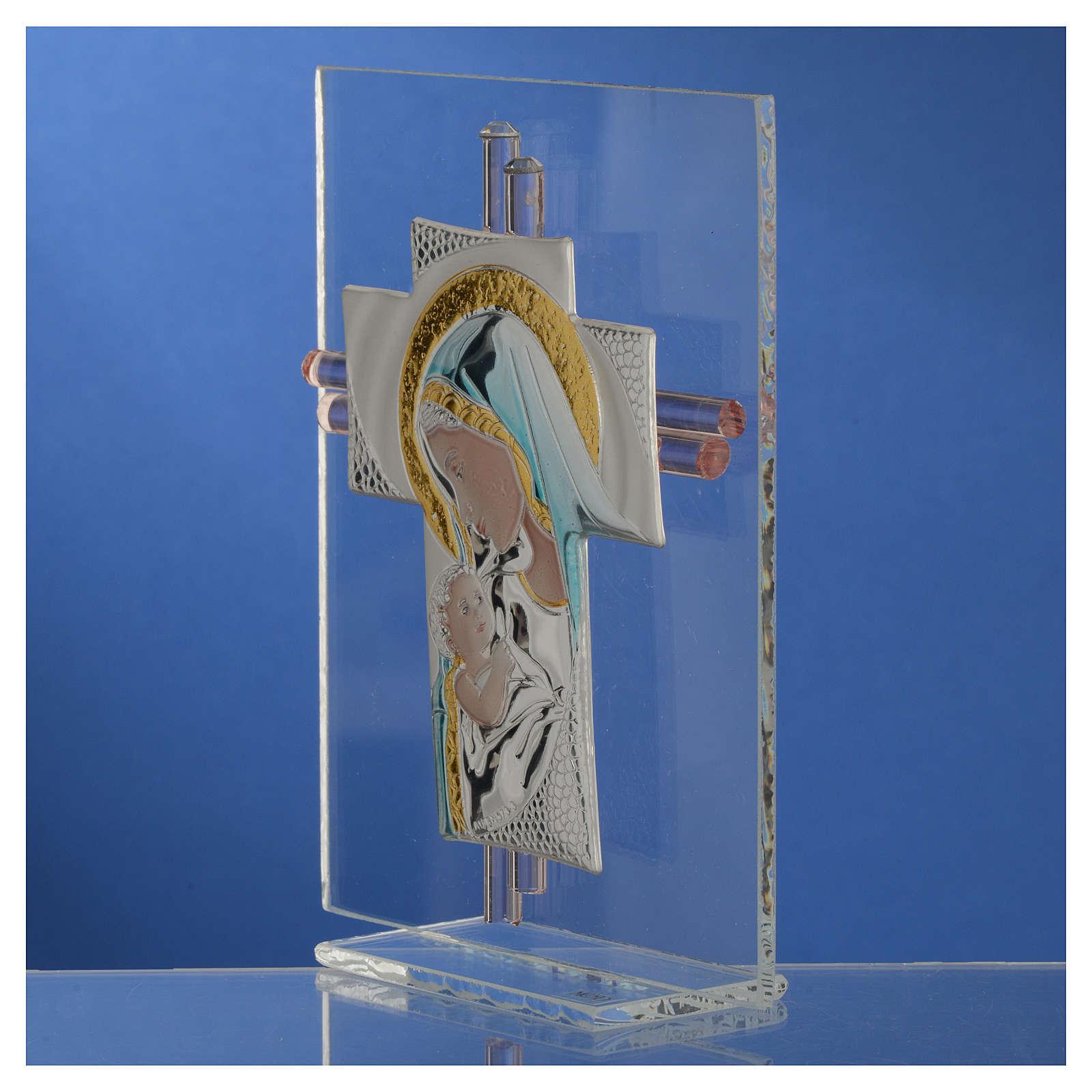 Croix Naissance verre Murano bleu et argent h 14,5 cm 3