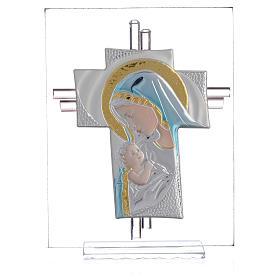 Croix Naissance verre Murano bleu et argent h 14,5 cm s1