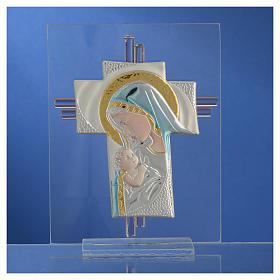 Croix Naissance verre Murano bleu et argent h 14,5 cm s2