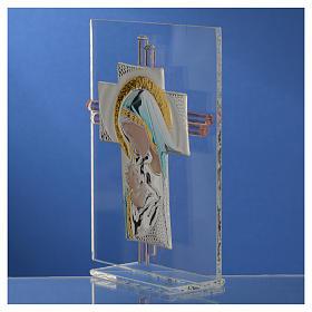 Croix Naissance verre Murano bleu et argent h 14,5 cm s3