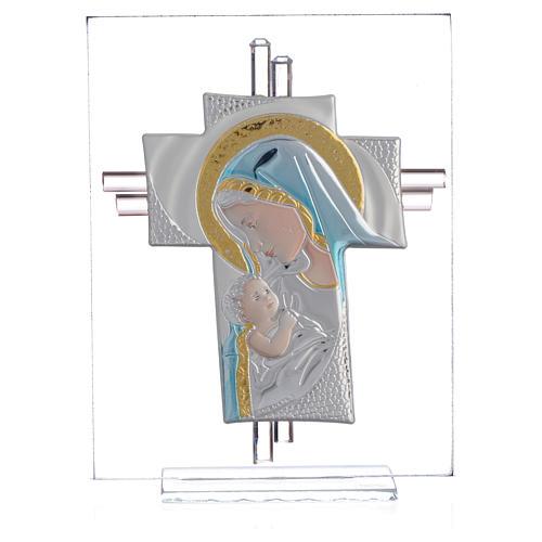 Croix Naissance verre Murano bleu et argent h 14,5 cm 1