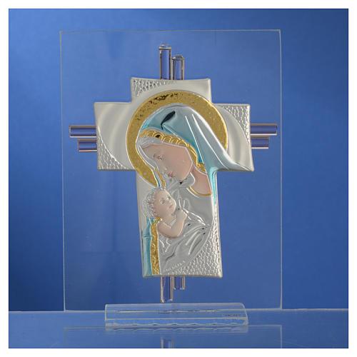 Croix Naissance verre Murano bleu et argent h 14,5 cm 2