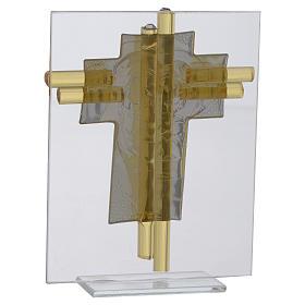 Croix Ste Famille verre Murano aigue-marine et argent h 14,5 cm s3