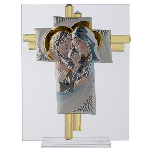 Croix Ste Famille verre Murano aigue-marine et argent h 14,5 cm 1