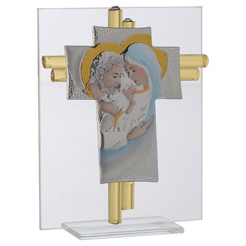 Croix Ste Famille verre Murano aigue-marine et argent h 14,5 cm 2