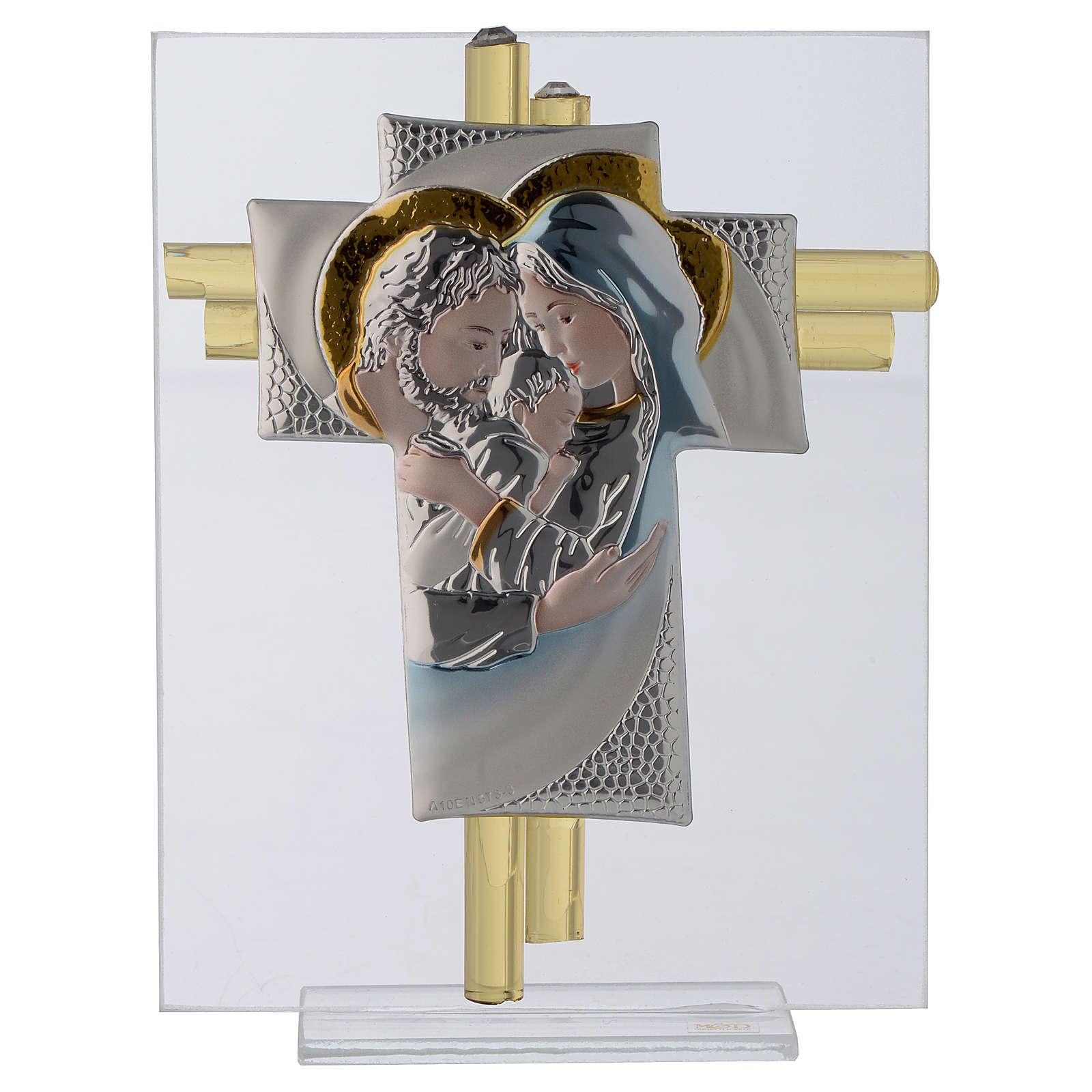 Croce S. Famiglia vetro Murano acquamarina e Argento h.14,5 cm 3