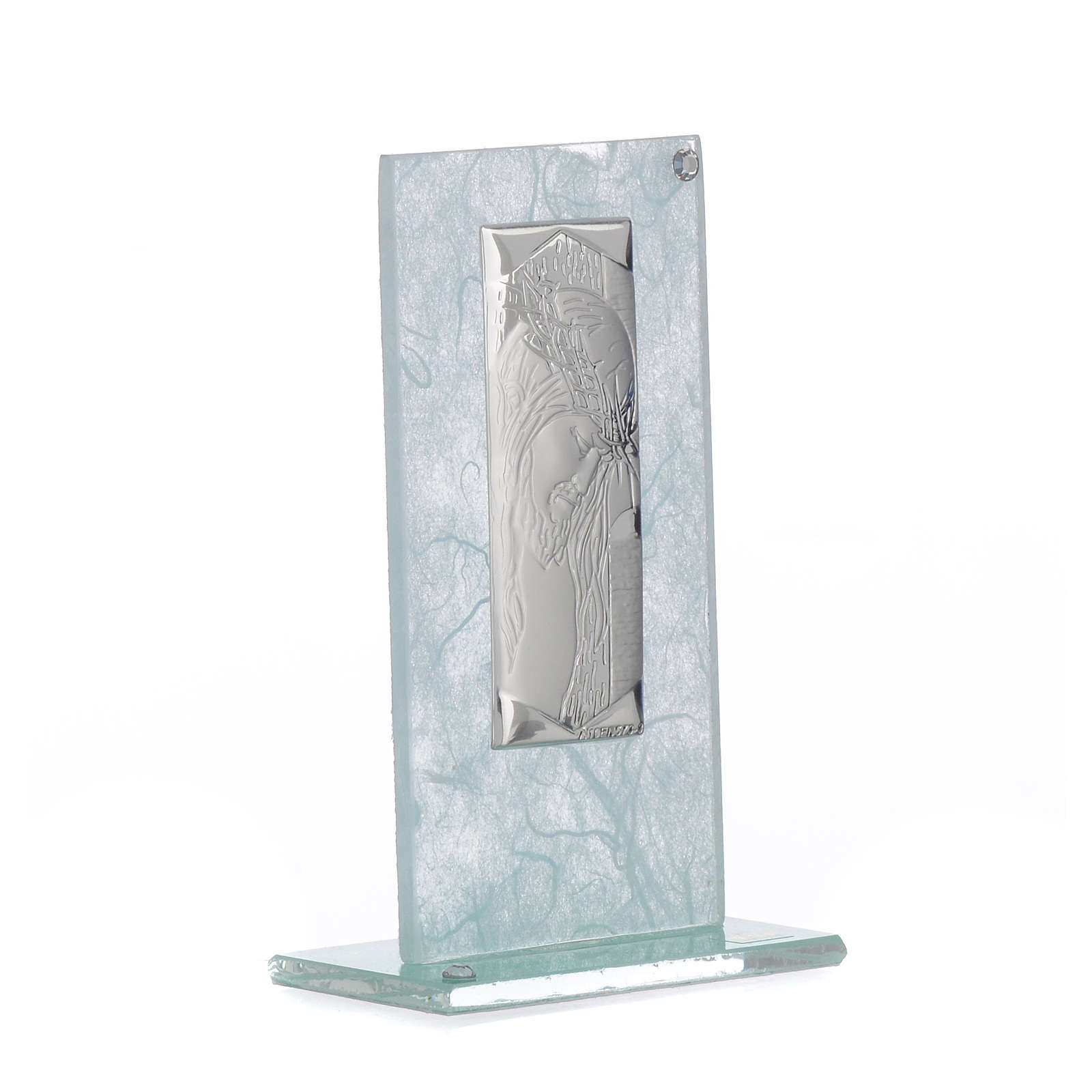 Favour with image of Christ in silver and sky blue glass 11.5cm 3