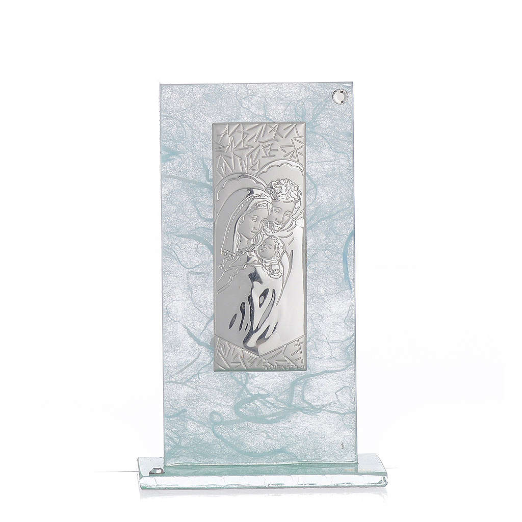 Holy Family favour, image in silver and sky blue glass 11.5cm 3