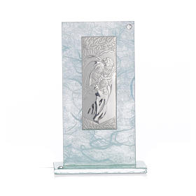 Holy Family favour, image in silver and sky blue glass 11.5cm s4