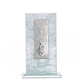 Holy Family favour, image in silver and sky blue glass 11.5cm s1