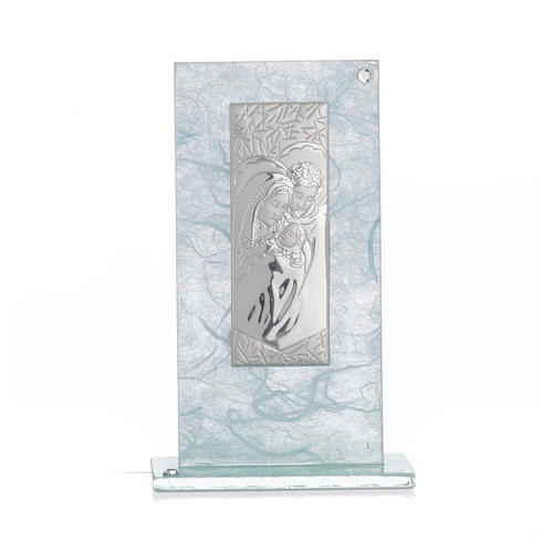 Holy Family favour, image in silver and sky blue glass 11.5cm 4