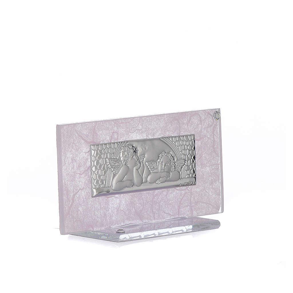Bonbonnière Naissance verre rose-lilas h 11,5 cm 3