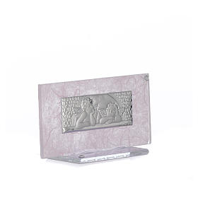 Bonbonnière Naissance verre rose-lilas h 11,5 cm s5