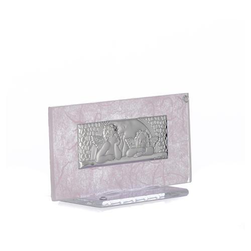 Bonbonnière Naissance verre rose-lilas h 11,5 cm 5