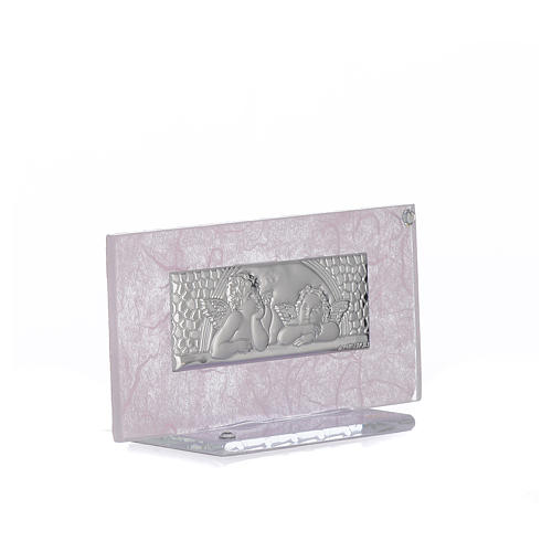 Bonbonnière Naissance verre rose-lilas h 11,5 cm 2