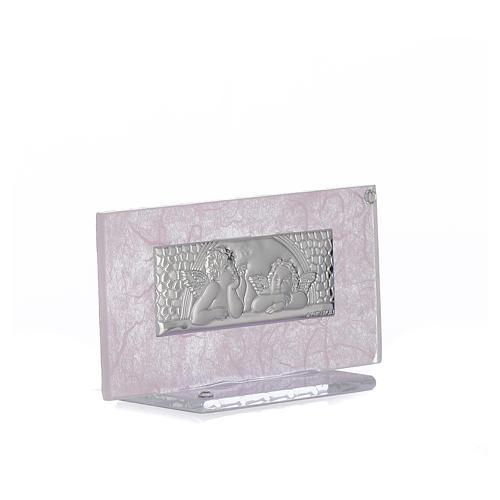 Bomboniera Nascita vetro rosa-lilla h. 11,5 cm 2