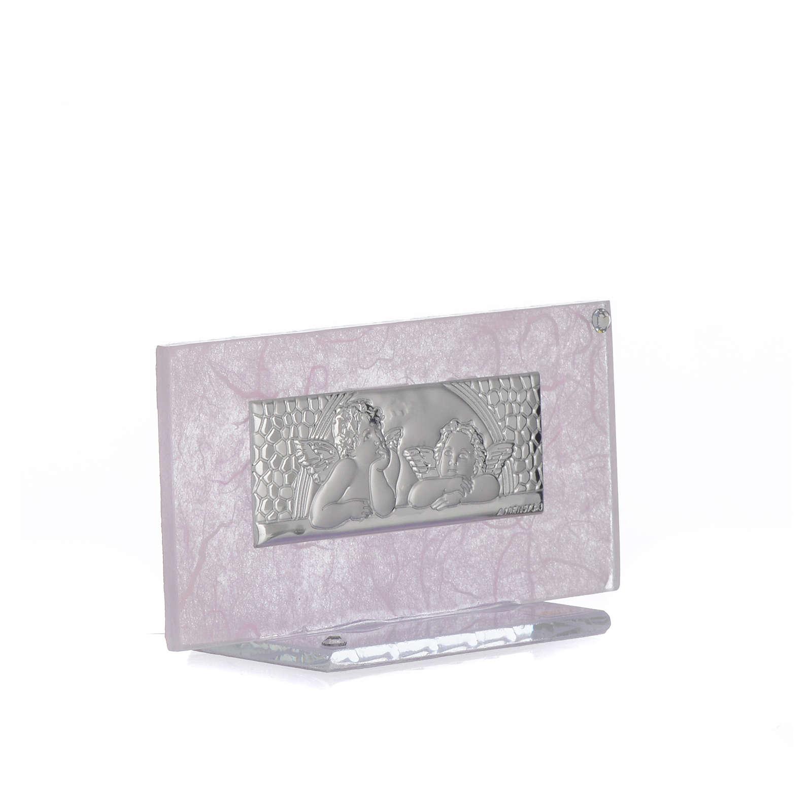 Pamiątka Narodziny szkło różowe i liliowe 11,5cm 3