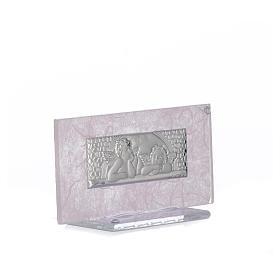 Pamiątka Narodziny szkło różowe i liliowe 11,5cm s5