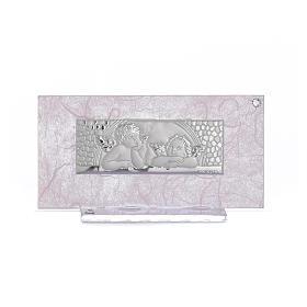Pamiątka Narodziny szkło różowe i liliowe 11,5cm s1