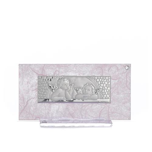 Pamiątka Narodziny szkło różowe i liliowe 11,5cm 4