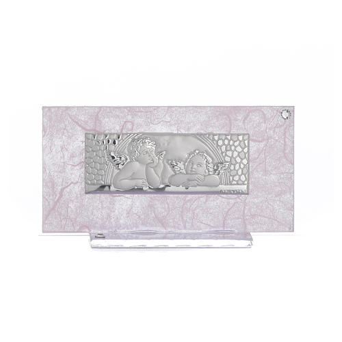 Lembrancinha Nascimento vidro cor-de-rosa/lilás h 11,5 cm 1