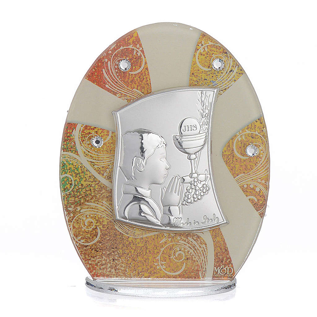 First Communion favour, in silver and glass 10.5cm 3