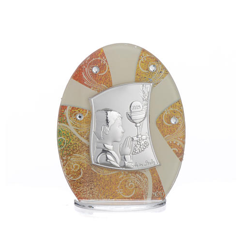 First Communion favour, in silver and glass 10.5cm 4