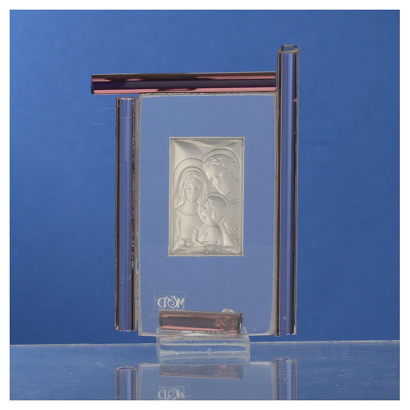 Bomboniera Sacra Famiglia Murano viola h.9 cm 3