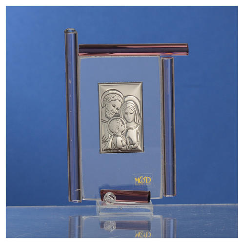 Bomboniera Sacra Famiglia Murano viola h.9 cm 2