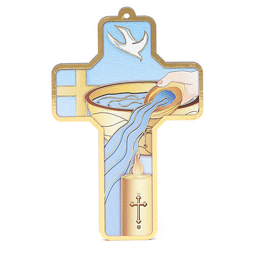 Cruz pvc bautismo con tarjeta recuerdo 3