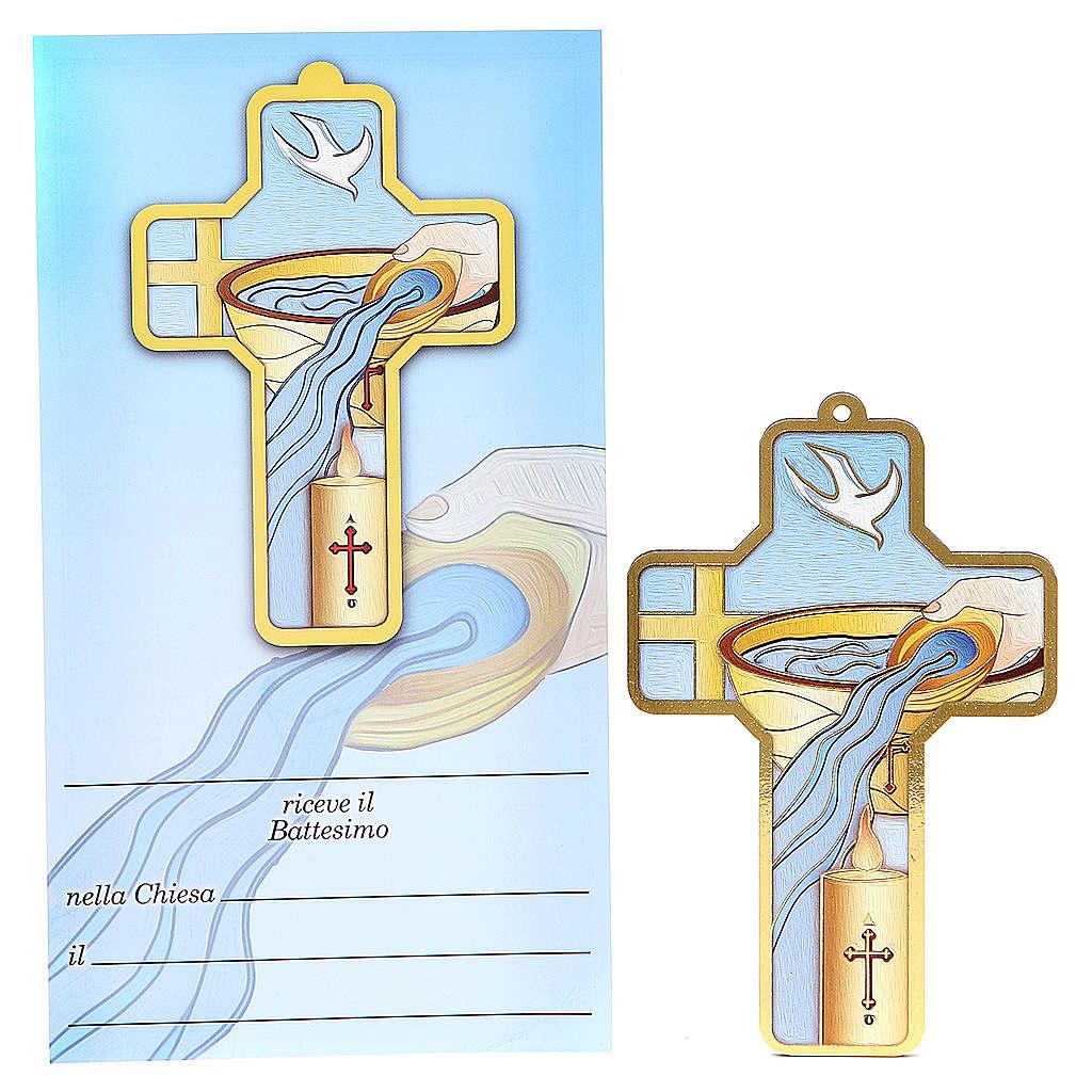 Croce pvc Battesimo con cartoncino ricordo 3