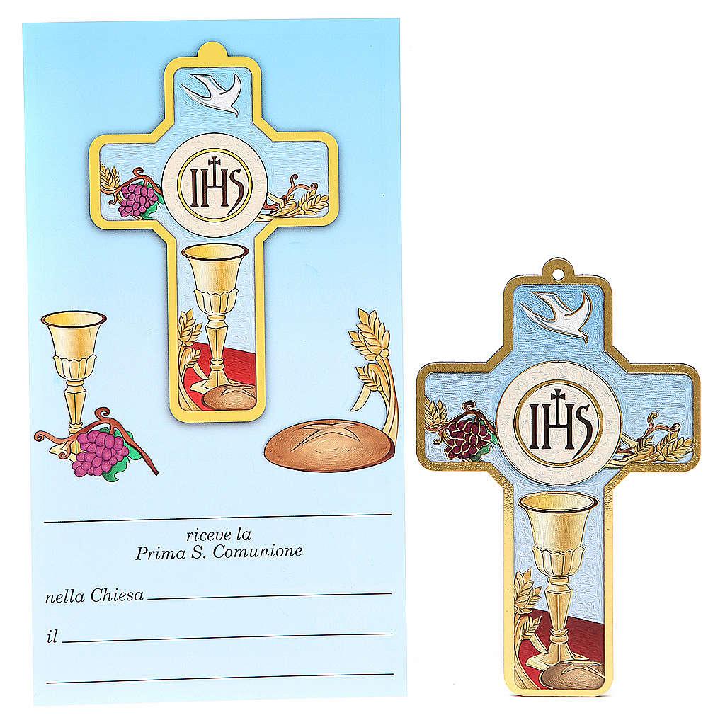 Cruz pvc Comunión con tarjeta recuerdo ITA 3