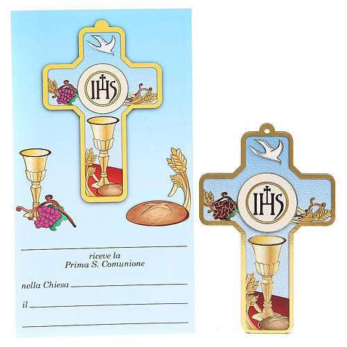 Cruz pvc Comunión con tarjeta recuerdo ITA 1