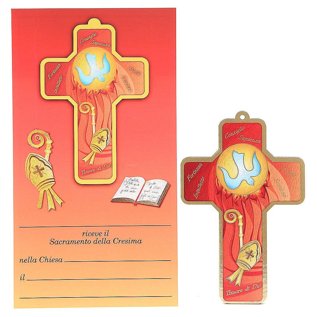 Croce pvc Cresima con cartoncino ricordo 3