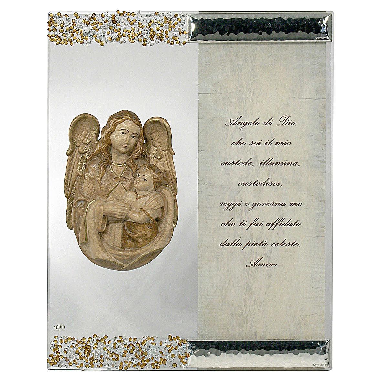 Quadro Scultura Angelo in Argento Cristallo preghiera 3
