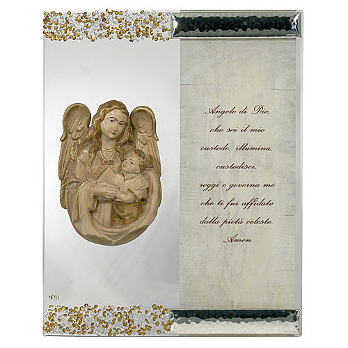 Quadro Scultura Angelo in Argento Cristallo preghiera 1