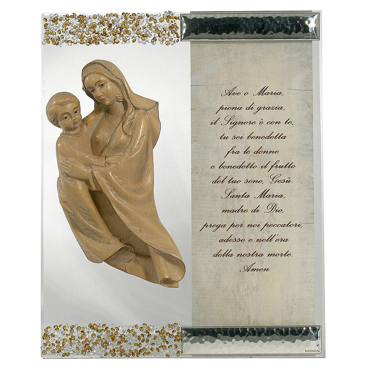 Cuadro Figura Virgen Plata cristal oración Topacio 3