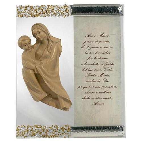 Cuadro Figura Virgen Plata cristal oración Topacio 1