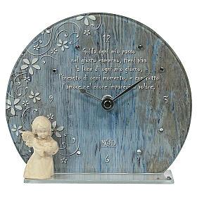 Bomboniera Orologio azzurro vetro legno e frase s1