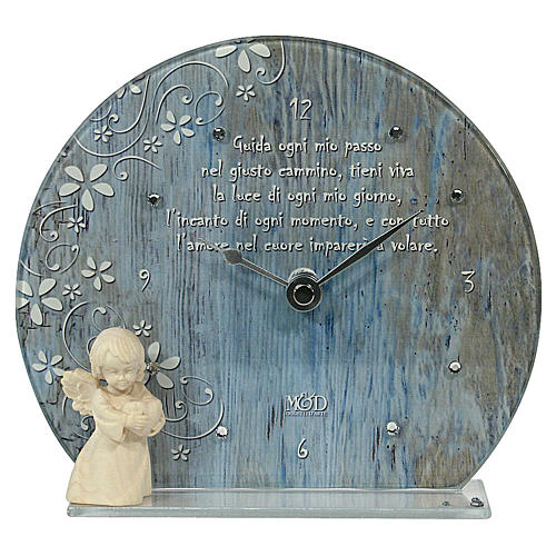 Bomboniera Orologio azzurro vetro legno e frase 1
