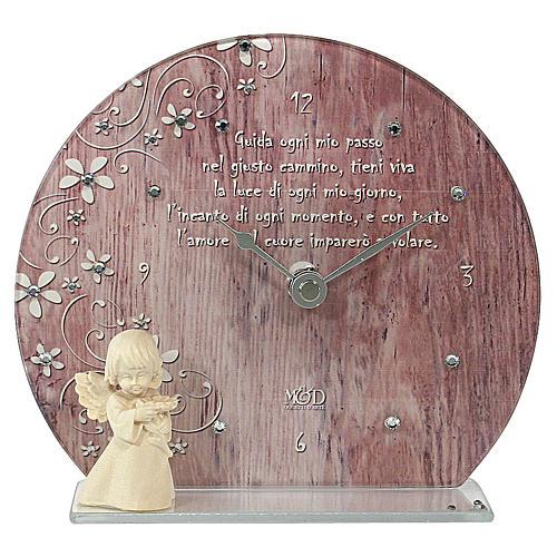Bomboniera Orologio rosa in vetro e legno 1