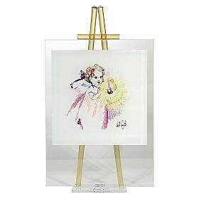 Cadre aquarelle 'Eccomi' à poser topaze 24x14 cm s1